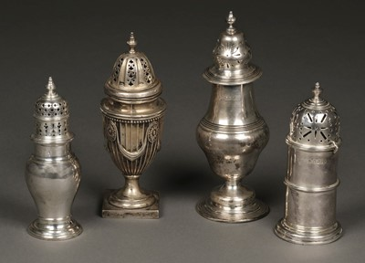 Lot 20 - Casters. Various silver sugar casters