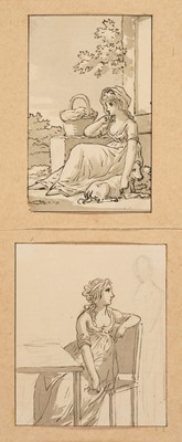 Lot 306 - Andriessen (Anthonie, 1746-1813). Girl resting with her dog and basket by a building