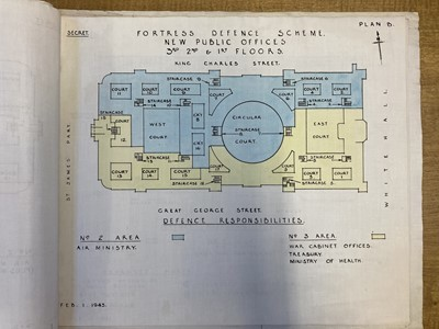 Lot 341 - Cabinet War Rooms. 'Fortress Defence Scheme' [cover-title], 1 February 1943