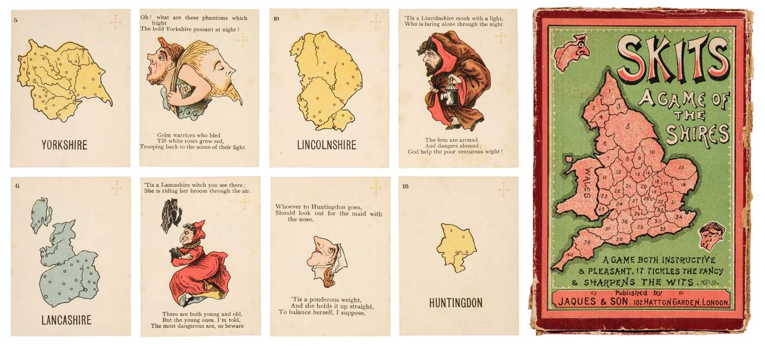 Lot 452 - Anthropomorphic map cards. Skits, A Game of the Shires, circa 1900