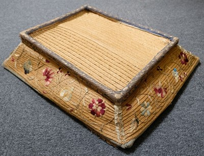 Lot 236 - Embroidered basket. A straw-work layette tray, probably English, mid 18th century
