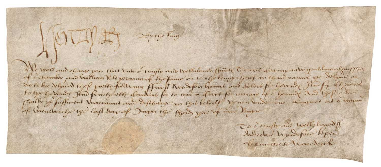 Lot 216 - Henry VIII (1491-1547). Document Signed, 'Henry R', Greenwich, [1511]