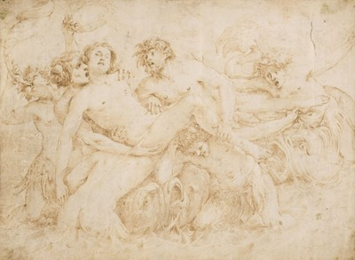 Lot 322 - Italian School. Group of six tritons and two sea monsters bearing a drowned male figure