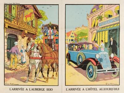 Lot 504 - Vallée (Georges, active 1897-1921). L'Arrivée a l'auberge 1830 / L'Arrivée a l'Hôtel aujourd'hui