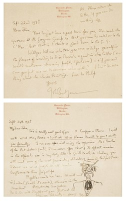Lot 518 - Betjeman (John). Two autograph letters signed, 1938, with an original caricature