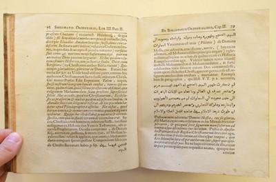 Lot 19 - Hottinger (Johann Heinrich). Promtuarium; sive, Bibliotheca orientalis, 1st edition, 1658