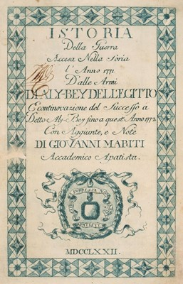 Lot 23 - Mariti (Giovanni). Istoria della guerra accesa nella Soria ... dalle armi di Aly Bey, 1772-4
