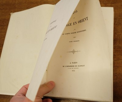 Lot 11 - Estourmel (Joseph d'). Journal d'un voyage en orient, 1st edition, 1844