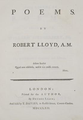 Lot 93 - Lloyd (Robert). Poems, London: Printed for the Author, 1762