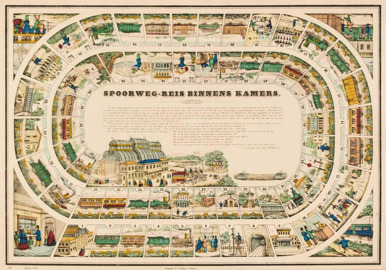 Lot 449 - Railway game. Spoorweg-reis Binnens Kamers, mid-19th century