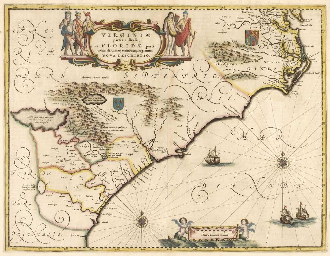 Lot 511 - North America. Jansson (Jan), Virginiae partis Australis et Floridae partis Orientalis, circa 1641