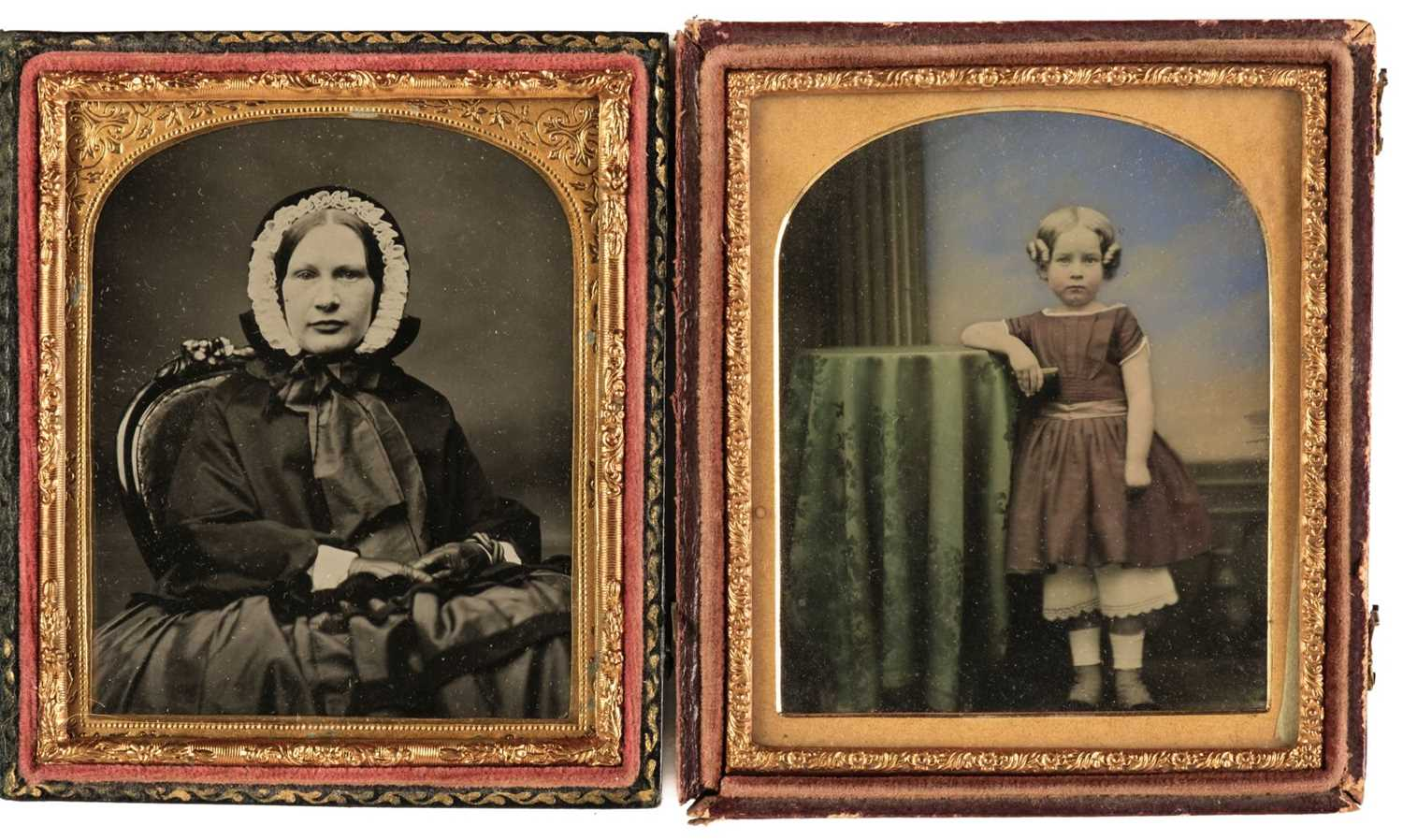 Lot 1 - Ambrotypes. A group of 22 ambrotypes of women and some children, circa 1860s