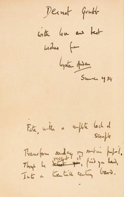 Lot 514 - Auden (Wystan Hugh, 1907-1973). Recent Poetry 1923-1933, inscribed by Auden
