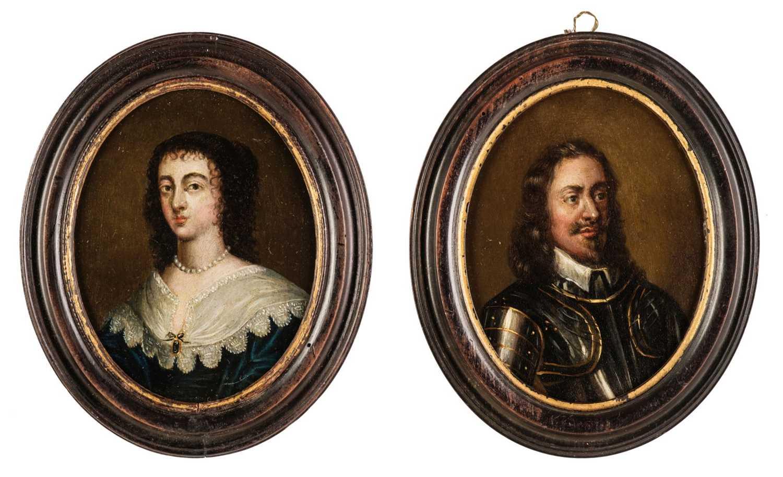 Lot 320 - English School.  Portraits of Charles I and Henrietta Maria, circa 1680-1710