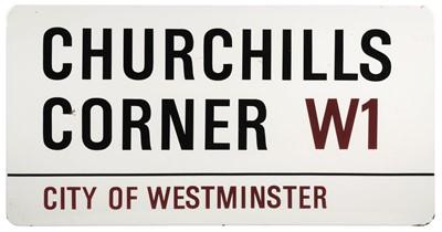 Lot 385 - Road Sign. Churchills Corner W1, Westminster, London