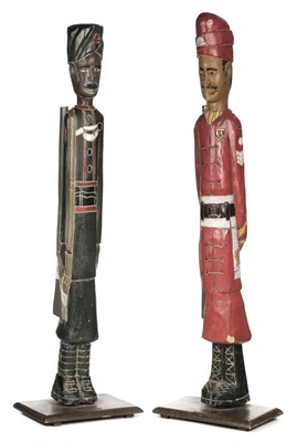 Lot 375 - Indian Soldier Carved Wood Figures