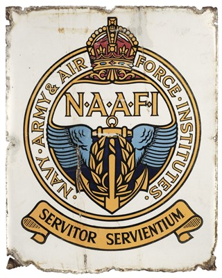 Lot 365 - Enamel Sign. WWII Period, NAAFI