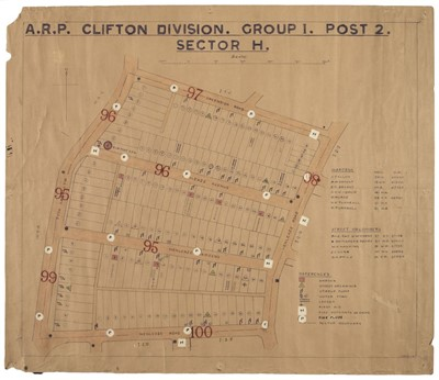 Lot 328 - WWII Air Raid Precaution (ARP) - Clifton Division, Bristol. WWII map of streets