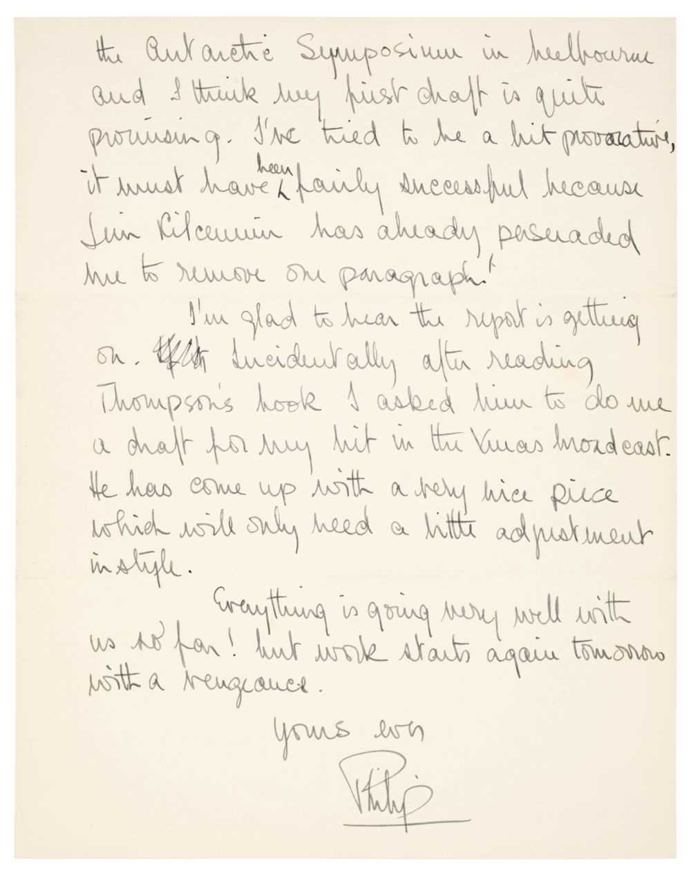 Lot 315 - Prince Philip (1921-2021). Autograph Letter Signed, 1956