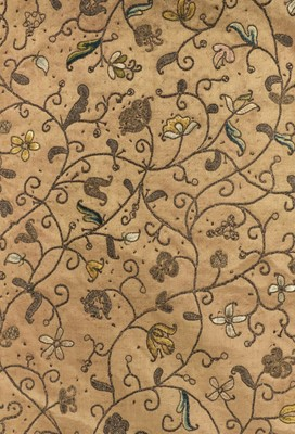 Lot 242 - Embroidered panel. A metalwork silk bedcover, English, circa 1650