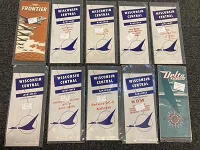 Lot 551 - Civil Aviation. American Timetables 1940-1960