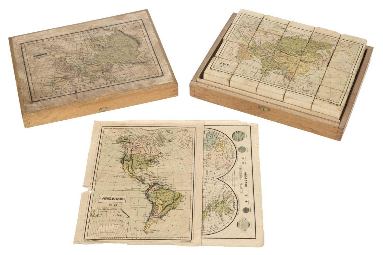 Lot 455 - Victorian Map Block Puzzle. A boxed set of map puzzle blocks, Paris, late 19th century