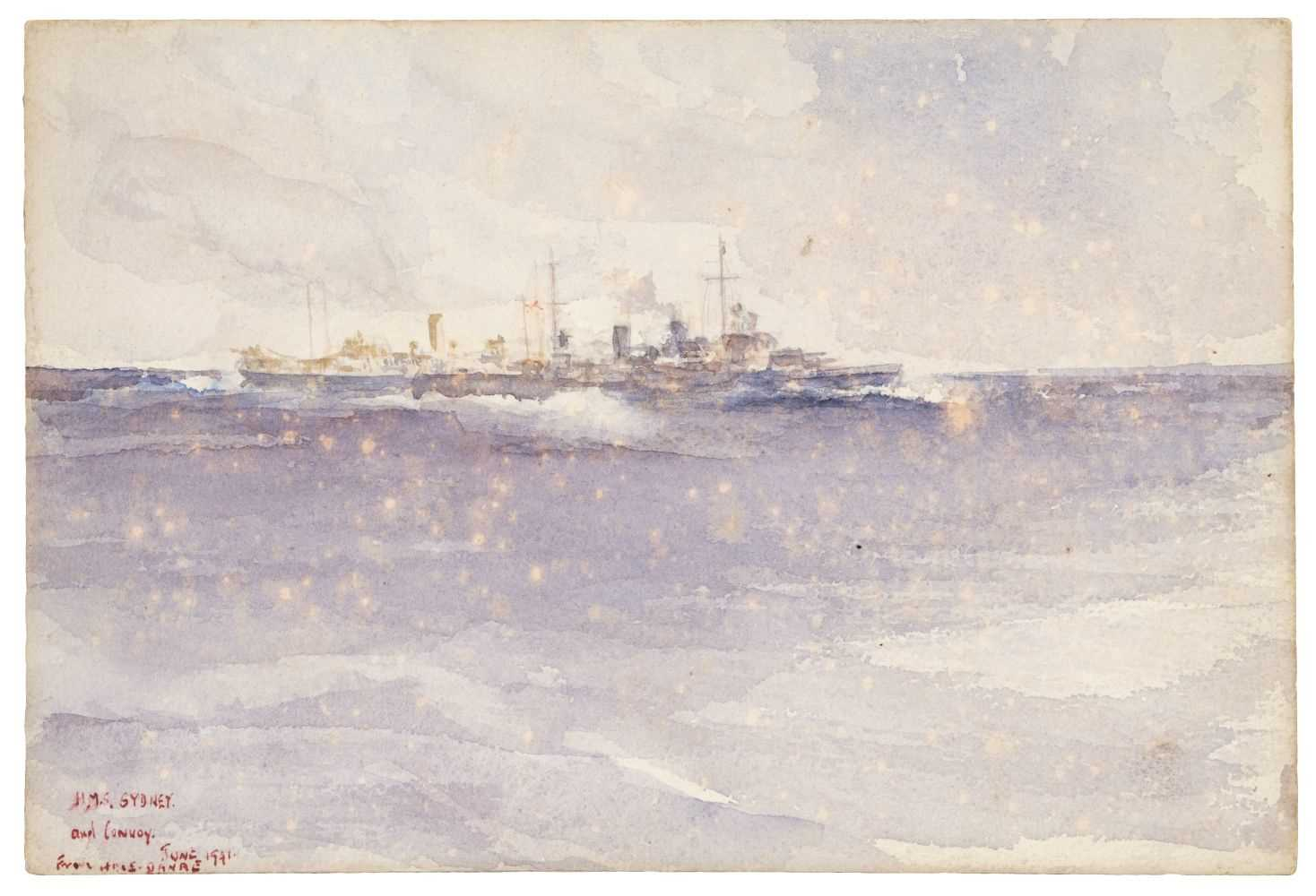 "Lot 318 - Russell Flint (Francis, 1915-1977) – ""HMS Sydney & Convoy"" 1941"