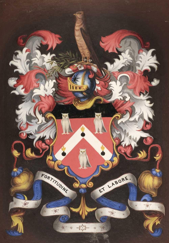 Lot 306 - Heraldry. Eight heraldic paintings of armorial bearings, 19th & 20th century