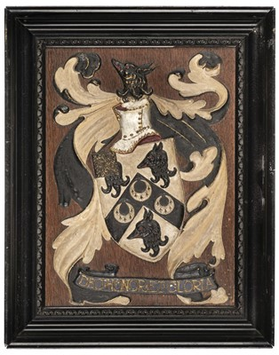 Lot 305 - Heraldry. An armorial panel of Major F.P.R. Nichols M.C.  R.A.S.C., early 20th century