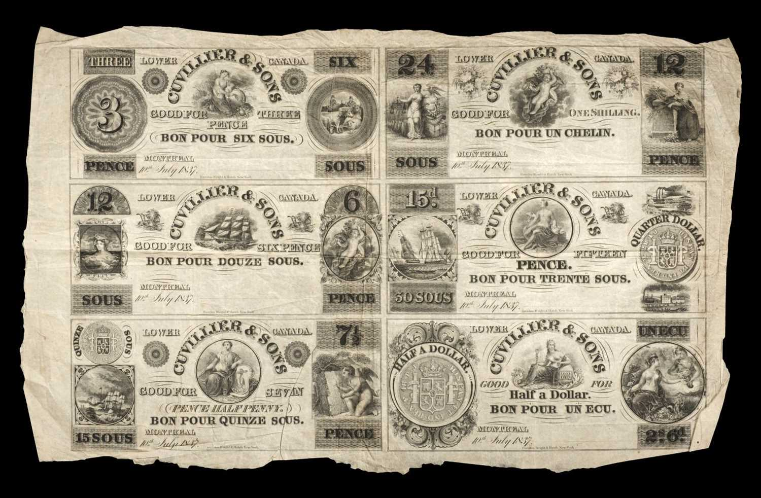 Lot 43 - Banknotes. Lower Canada Bank, Gulliver & Sons 1837