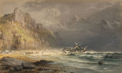 Lot 367 - English School. Shipwreck on the coast, with figures on the beach below cliffs, mid 19th century