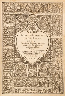 Lot 76 - Bible [English]. The Bible: Translated according to the Ebrew and Greeke, 1611