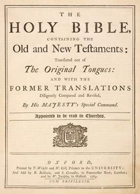 Lot 80 - Bible [English]. The Holy Bible, containing the Old and New Testaments, Oxford, 1769