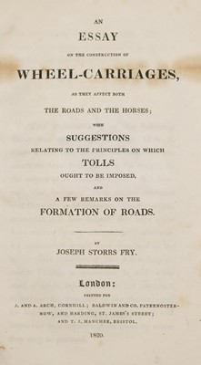 Lot 85 - Fry (Joseph Storrs). An Essay on the Construction of Wheel-Carriages..., 1820