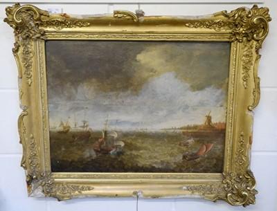 Lot 3 - Dutch School, 17th Century School, Dutch galleons on choppy seas