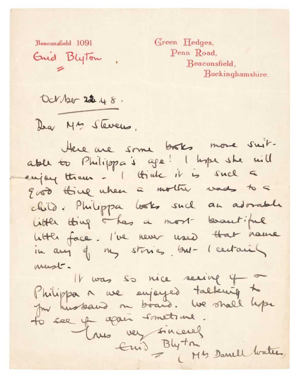 Lot 472 - Blyton (Enid, 1897-1968). Autograph letter signed 'Enid Blyton (Mrs Darrell Waters)',  1948
