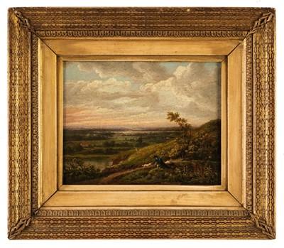 Lot 333 - Morland (George, 1763-1804).  Gentleman & dog on a hillside