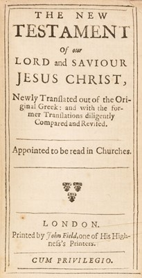 Lot 79 - Bible [English]. The Holy Bible containing ye Old and New Testaments, London: John Field, 1653