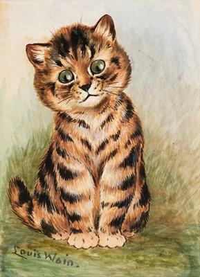 Lot 513 - Wain (Louis, 1860-1939). Portrait of a tabby kitten, circa 1913