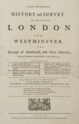 Lot 42 - Chamberlain (Henry). A New and Compleat History of the Cities of London and Westminster, [1770]
