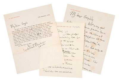 Lot 516 - Betjeman (John, 1906-1984). Two autograph letters and others, 1970s