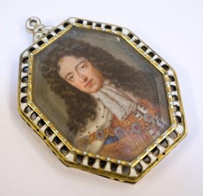 Lot 322 - English School. Portrait miniature of King William III, early 18th century