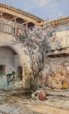 Lot 343 - Stanier (Henry, circa 1831-1894). A Spanish courtyard scene in Granada with figures, 1894