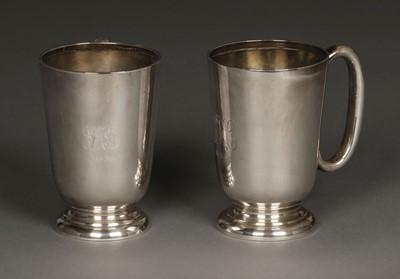 Lot 26 - Silver mugs, Walker & Hall, Sheffield 1930 and 1955