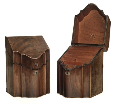 Lot 60 - Knife Boxes. Pair of George III mahogany knife boxes