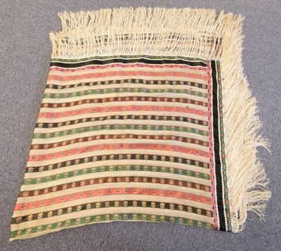 Lot 303 - Shawl. A woven silk satin and gauze shawl, circa 1810-1820