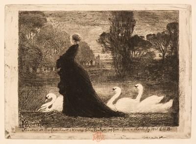 Lot 400 - Buhot (Félix-Hilaire, 1847-1898). La Dame aux Cygnes, 1879