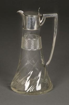 Lot 11 - Claret Jug. Silver top claret jug by Walker & Hall, Sheffield, 1909