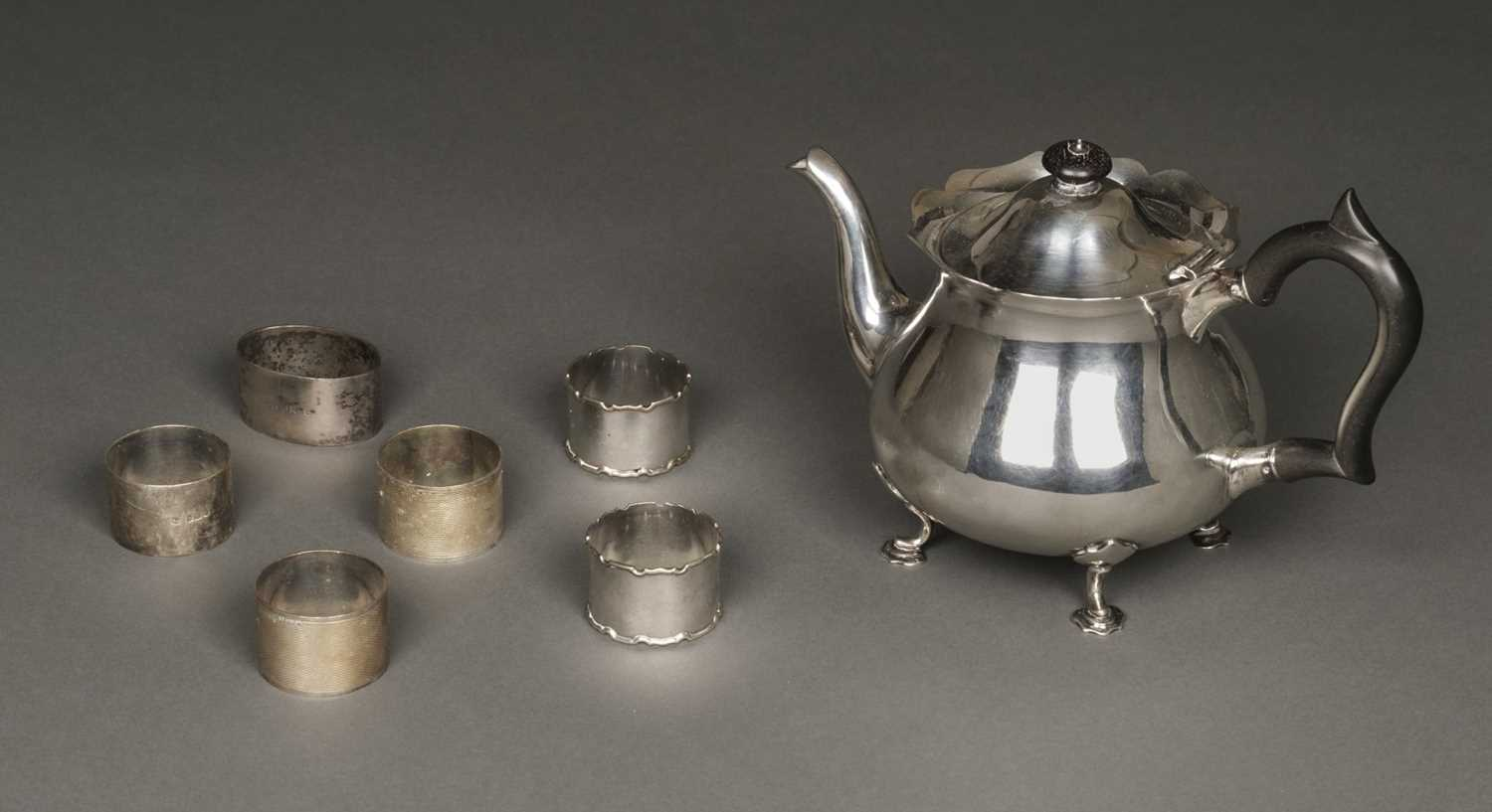 Lot 32 - Silver Teapot and other items