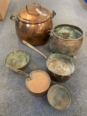 Lot 49 - Copperware. Victorian copper cauldron and other items